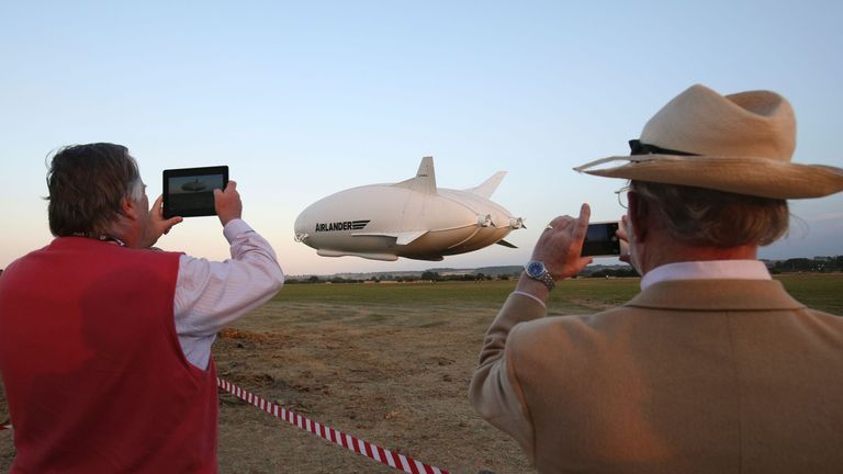 Many turned up to capture footage of the airship's maiden flight.