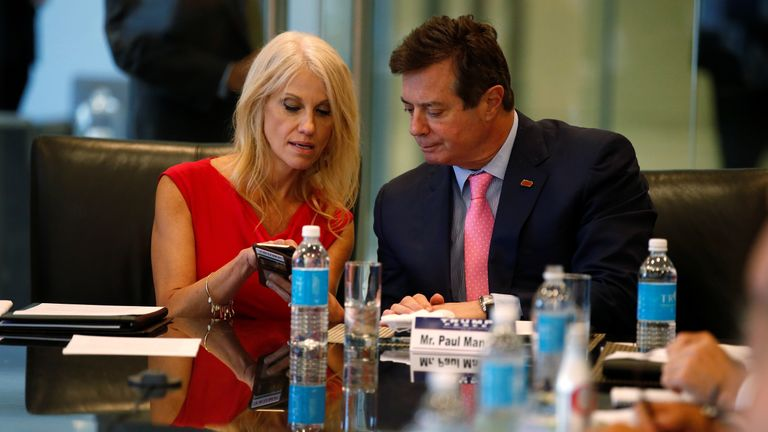 Donald Trump's campaign manager Kellyanne Conway and chairman Paul Manafort