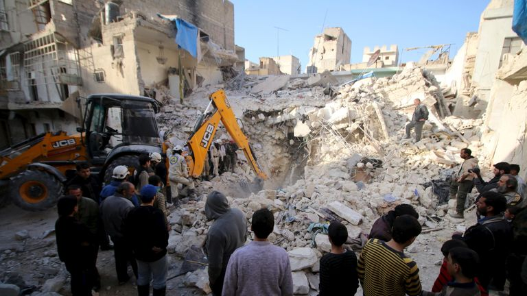 The Qaterji part of Aleppo seen after an airstrike in February this year