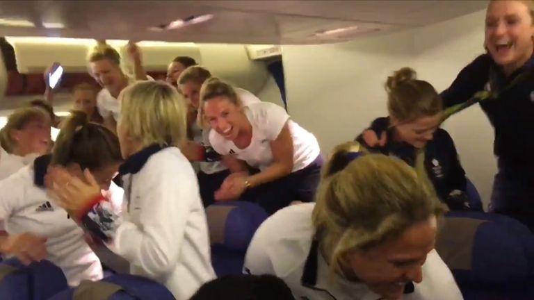 Team GB singing the national anthem on their British Airways flight home from Rio