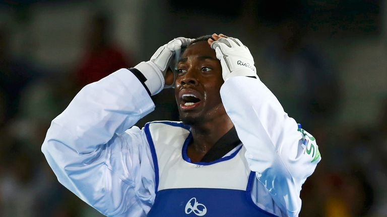 Lutalo Muhammad was visibly devastated after losing out on an gold medal. He won silver in the final second of a dramatic men's 80kg taekwondo final.