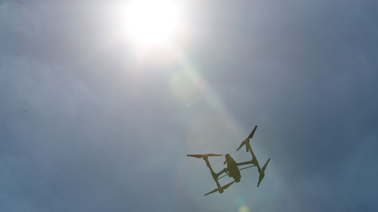A drone silhouetted against the sky. File pic