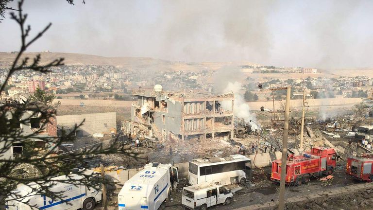 The bomb blast left the police building badly damaged