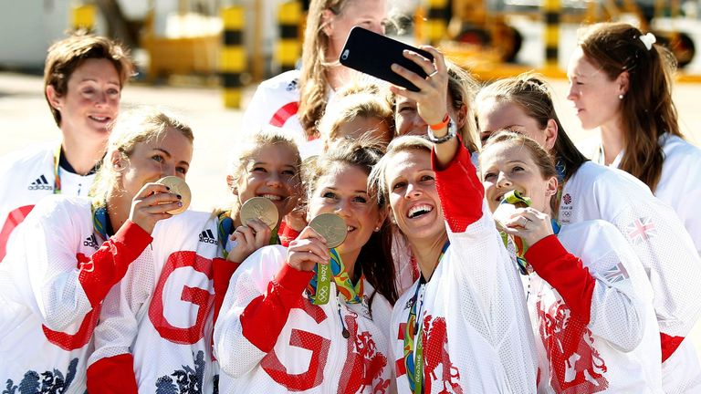 Team GB athletes pose with their medals