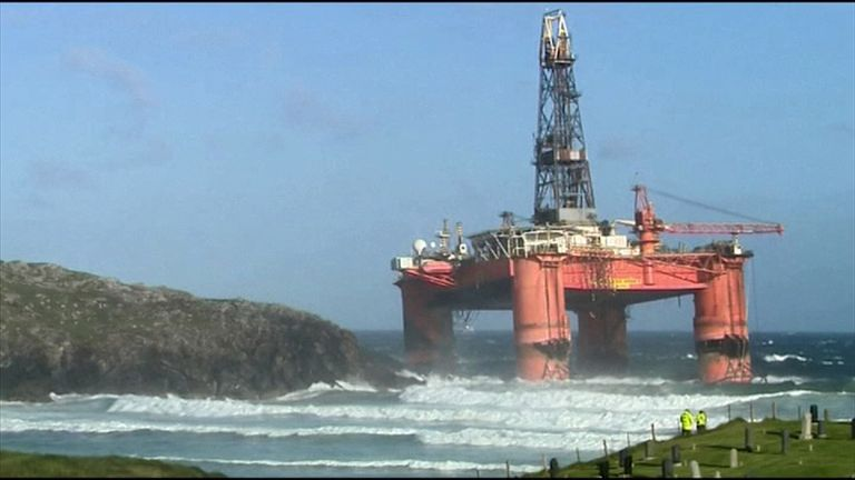 The rig towered over the shoreline at Dalmore Bay