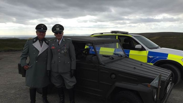 The photo showed two men in SS costumes