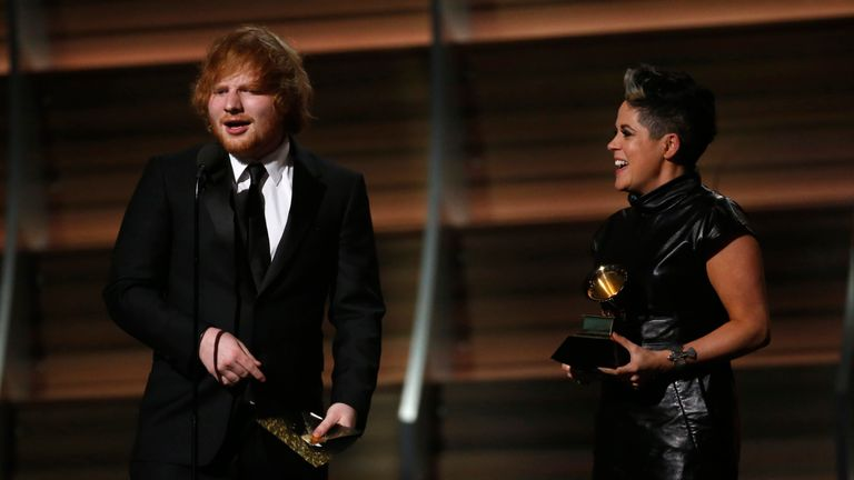 Sheeran picks up a Grammy Award for Thinking Out Loud