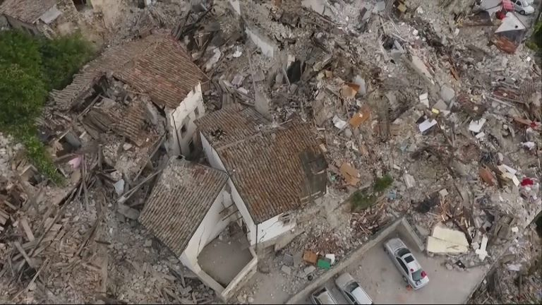 The damage created by the earthquake