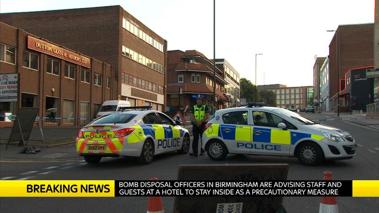 Police in the Lee Bank area of Birmingham after five terrorism arrests