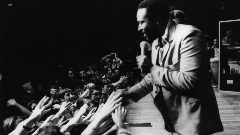 Marvin Gaye pictured performing at the Royal Albert Hall in 1976
