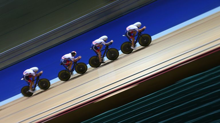 Britain's Men's Endurance Team in training at the Manchester velodrome
