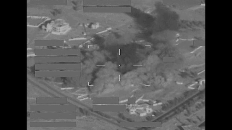 Guided bombs strike at the heart of the IS training base in Mosul