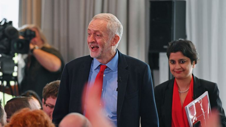 Labour leader Jeremy Corbyn and civil rights campaigner Shami Chakrabarti