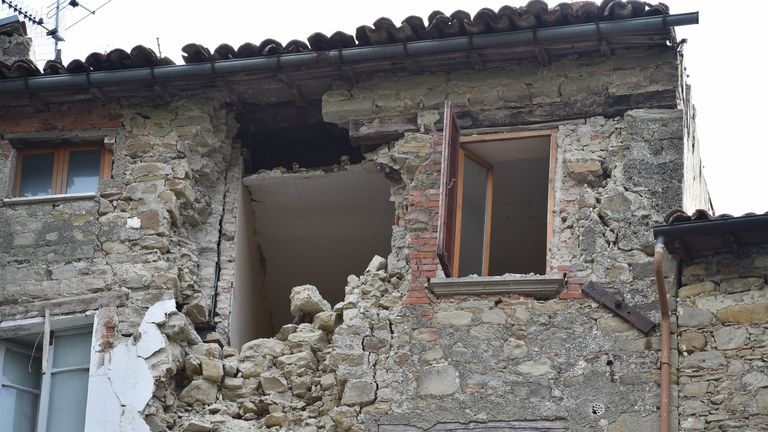 A damaged house in Arquata del Tronto, in the Marche region