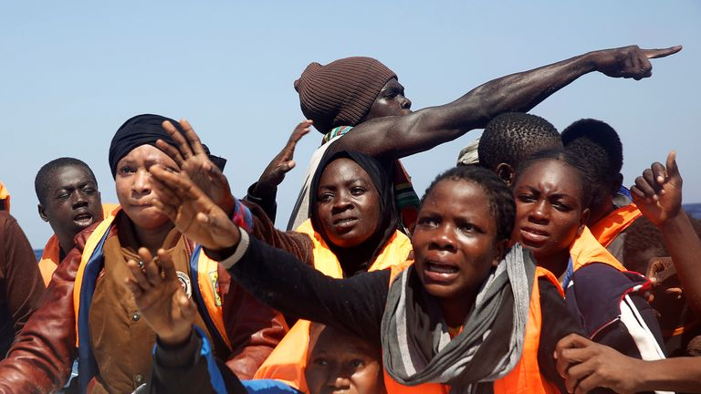 Migrants rescued by a Spanish NGO off the Libyan coast