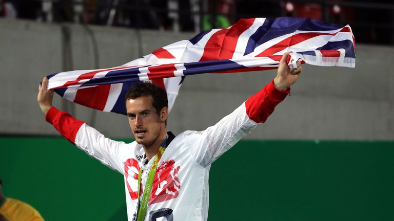 Great Britain's Andy Murray with his gold medal