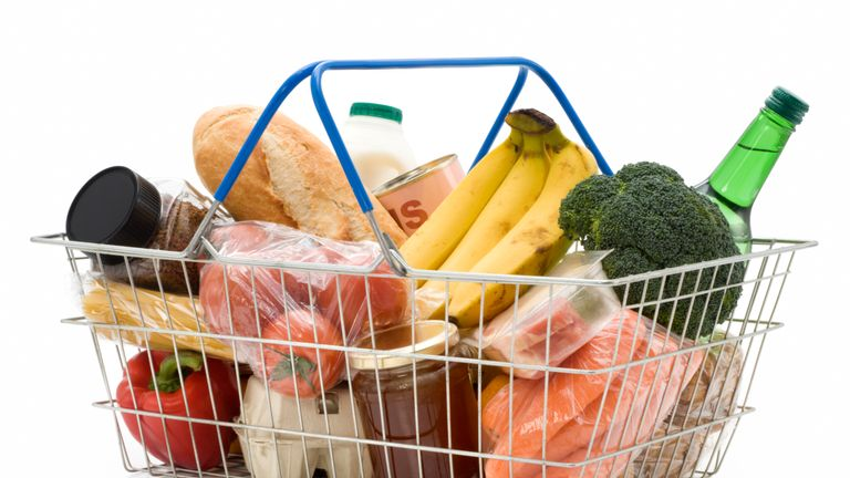 A shopping basket with generic produce