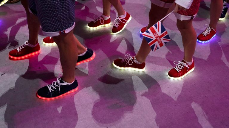 2016 Rio Olympics - Closing ceremony - Maracana - Rio de Janeiro, Brazil - 21/08/2016. The shoes of athletes taking part in the closing ceremony are seen. REUTERS/Stefan Wermuth FOR EDITORIAL USE ONLY. NOT FOR SALE FOR MARKETING OR ADVERTISING CAMPAIGNS.