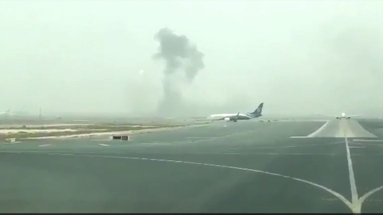 The plane ablaze on the runway. Pic: Hayen Ayari