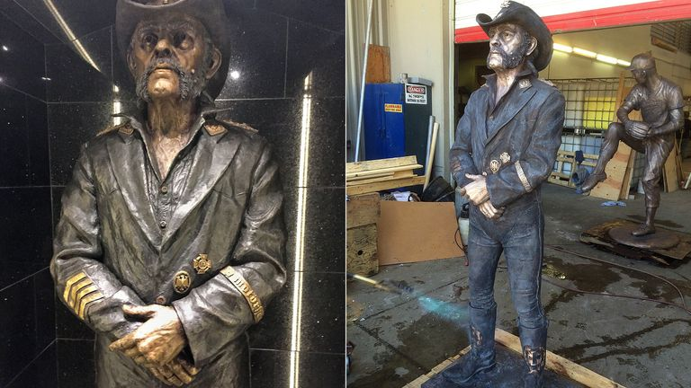 The 6ft bronze sculpture of Lemmy at the Rainbow Bar and Grill on West Hollywood's Sunset Strip
