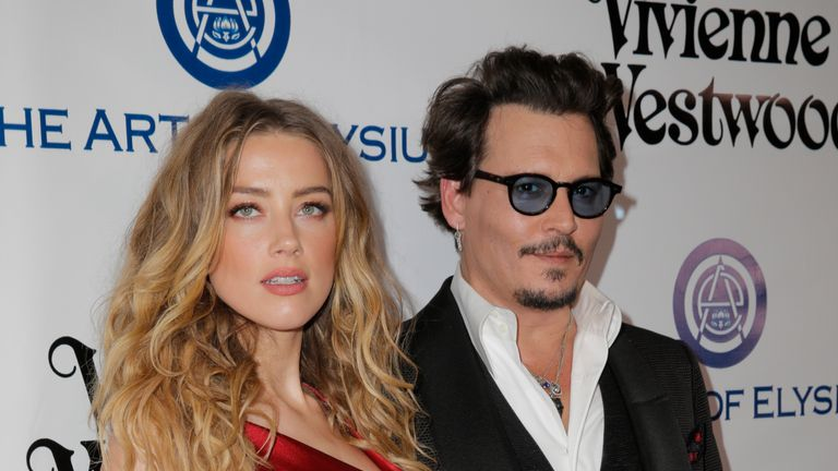 Amber Heard and Johnny Depp in January this year