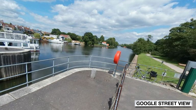 The boy was spotted in the water at Sunbury Lock in Walton-on-Thames, Surrey