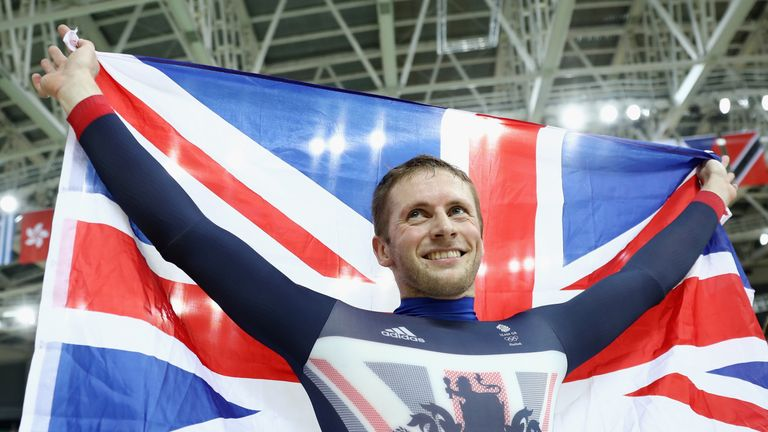 Jason Kenny of celebrates winning the gold medal in the men's sprint