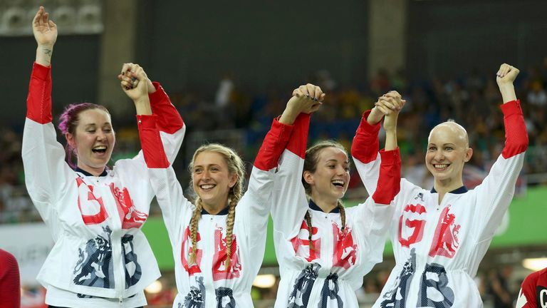 (L-R) Kate Archibald, Laura Trott, Elinor Barker and Joanna Rowsell