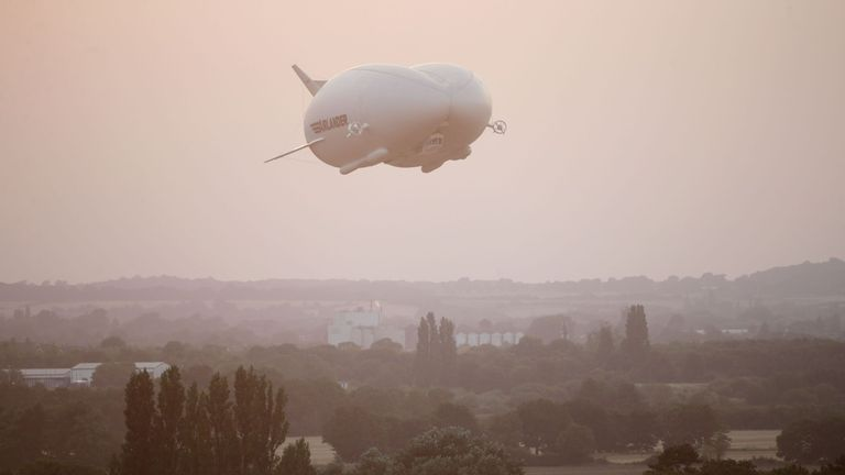 The Airlander takes its first flight over Bedfordshire