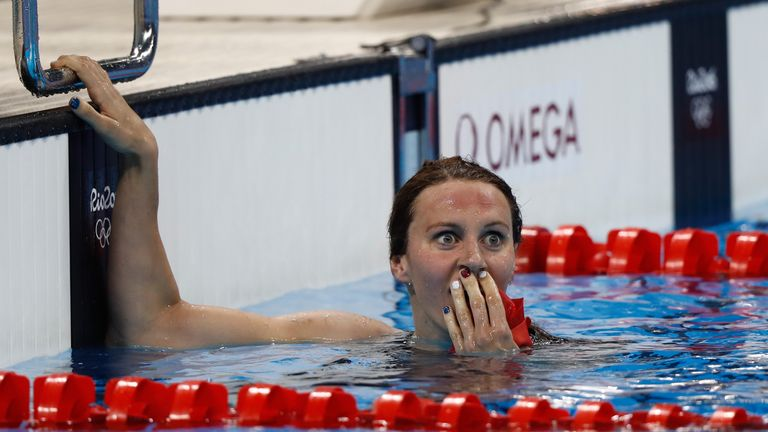 Jazz Carlin looks stunned after winning silver in the women's 400m freestyle final