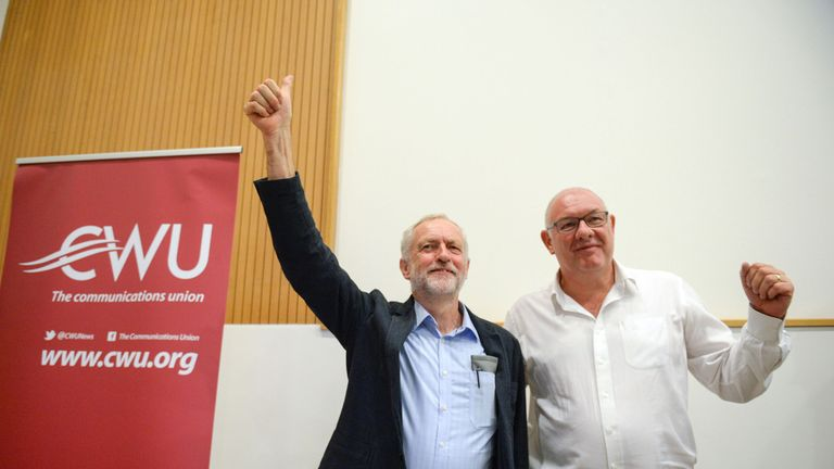 CWU general secretary Dave Ward (r) is seen here with Jeremy Corbyn. File pic