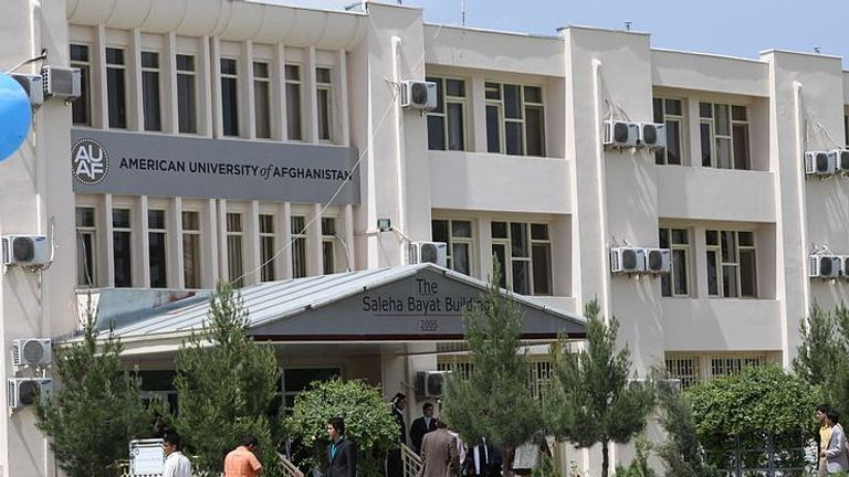 The entrance of the Saleha Bayat Building at the American University of Afghanistan in Kabul (Creative Commons)