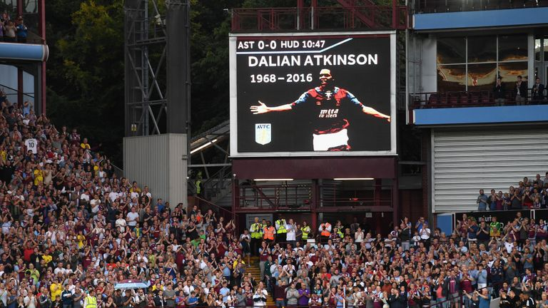Aston Villa supporters remember Dalian Atkinson following the death of their former striker
