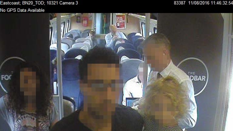 CCTV footage shows Mr Corbyn returning to Coach H and sitting down
