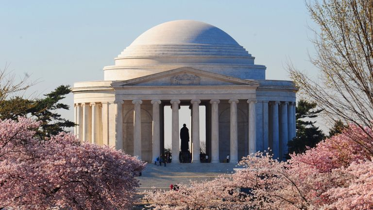 Blooming cherry trees in front of the Jefferson Memorial at the Tidal Basin in Washington DC in March 2009