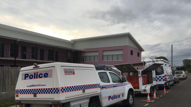 Police vans seen outside the hostel