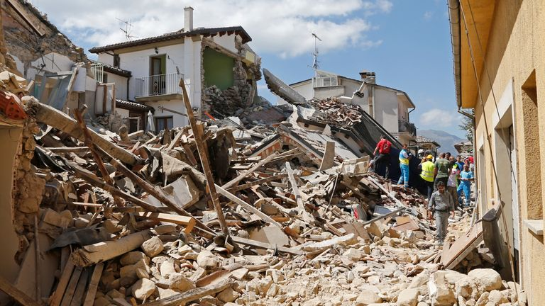 Collapsed buildings in Amatrice