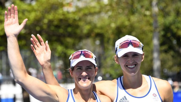 Katherine Grainger (L) and Victoria Thorley celebrate after scooping silver