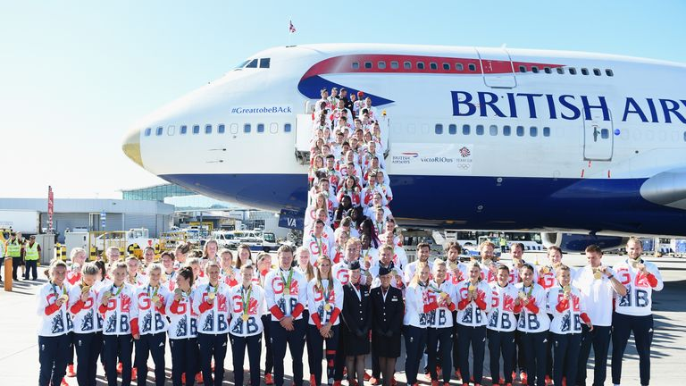 Team GB athletes after arriving home from Rio