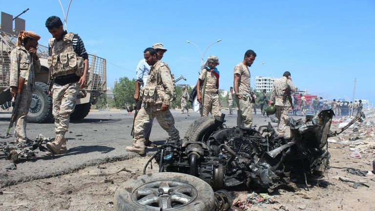 Aden has been the target of many jihadist attacks, such as this car bomb in May