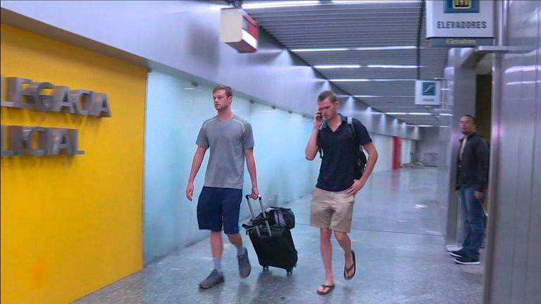 Jack Conger (L) and Gunnar Bentz after the men were removed from a flight