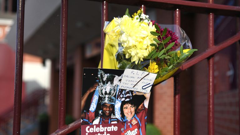 Dalian Atkinson tributes are left outside Villa Park