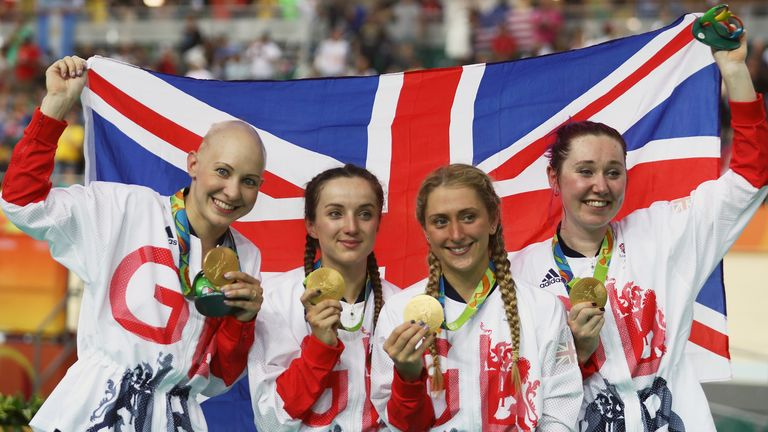 Gold medalists Laura Trott, Joanna Rowsell-Shand, Katie Archibald and Elinor Barker