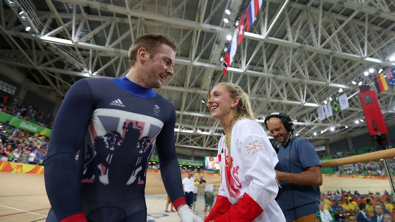 Great Britain's Jason Kenny celebrates with fiancee Laura Trott