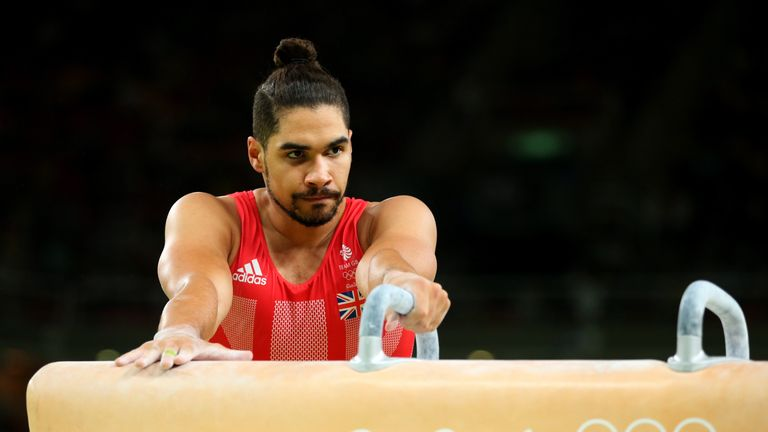 Louis Smith of Great Britain is dejected after falling while competing on the pommel horse
