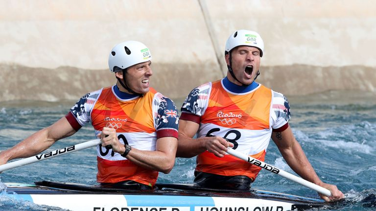 Great Britain's David Florence (front) and Richard Hounslow react after their run in the Canoe Slalom C2 Double Men's final at the Whitewater Stadium on th