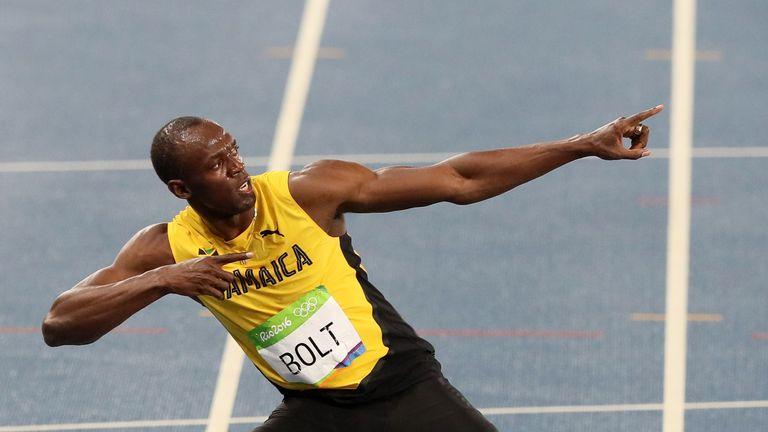 Jamaica's Usain Bolt celebrates winning the 200m