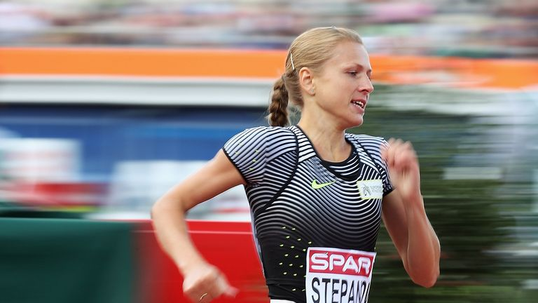 AMSTERDAM, NETHERLANDS - JULY 06:  Yuliya Stepanova in action during the Womens 800m heats during day one of the 23rd European Athletics Championships at O