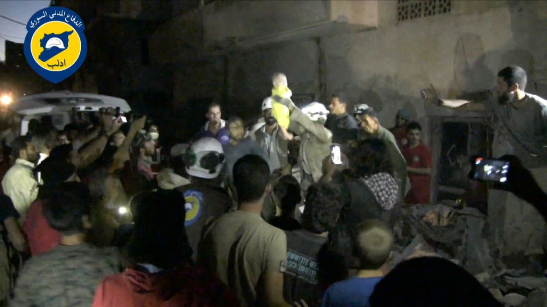 Baby rescued from under rubble in Idlib, Syria