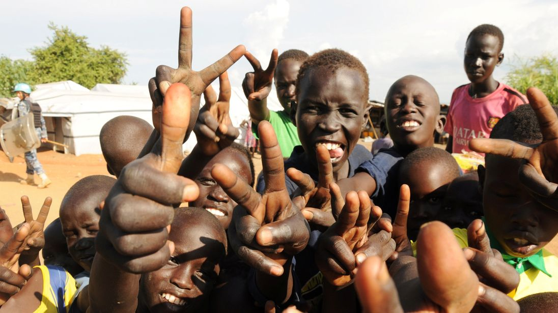 Children displaced by fighting in South Sudan are pictured during a recent visit by the UN Security Council